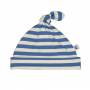 Sapphire and Natural striped baby hat