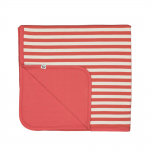 Reversible Coral and Natural Bamboo Blanket