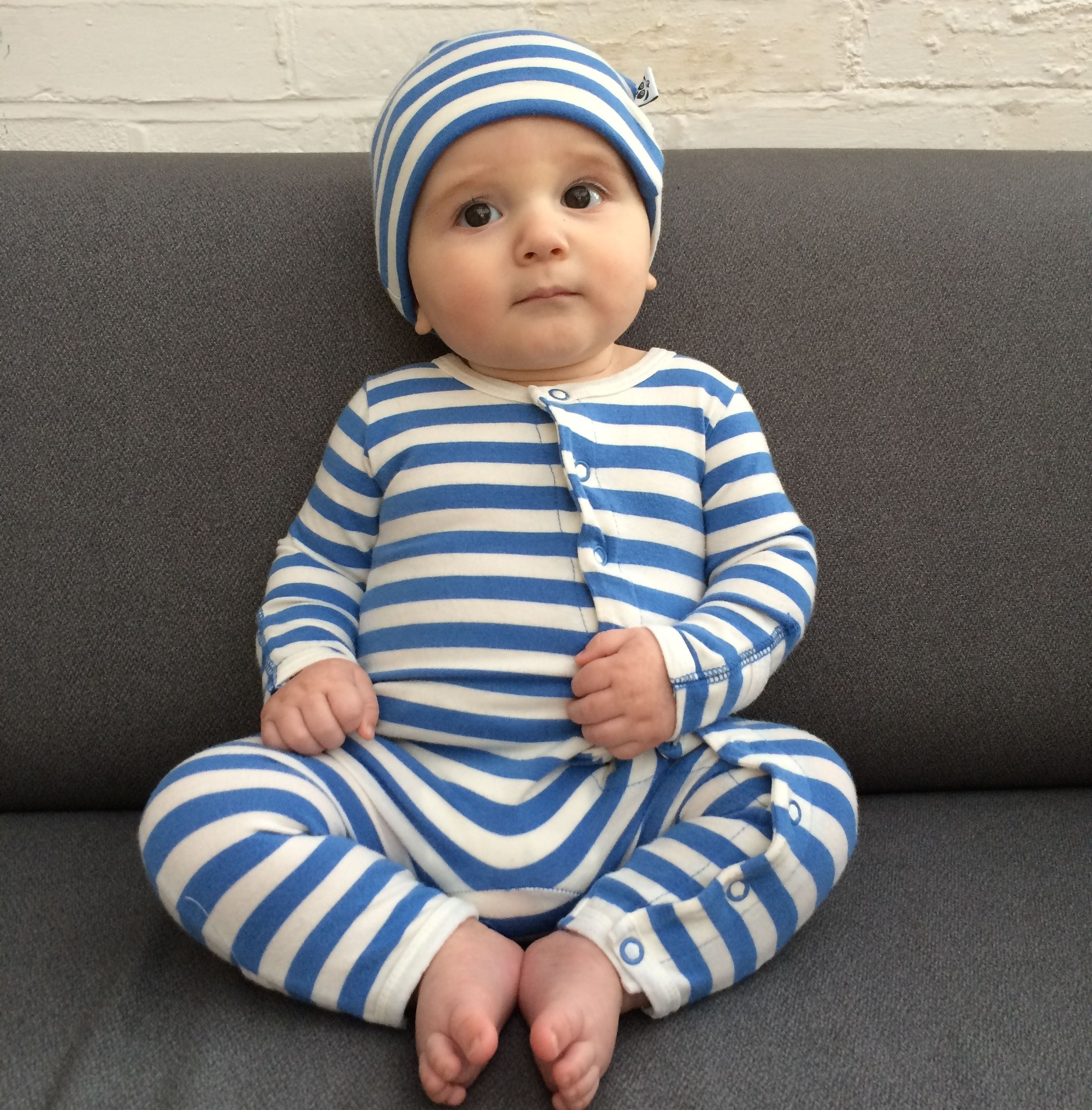 Sapphire and Natural Bamboo Baby Grow