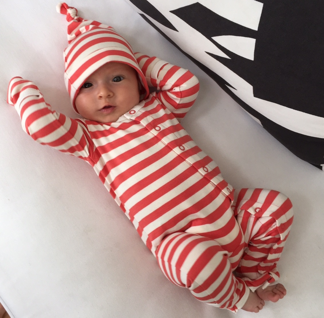 Coral and Natural Bamboo Baby Grow