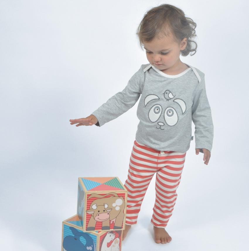 Moonstone and Coral Stripe Applique Logo Pyjamas