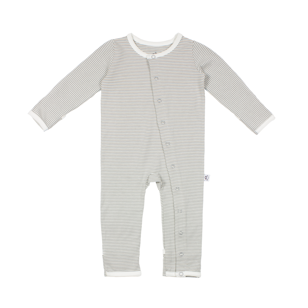 Fine Grey and Natural Striped Bamboo Baby Grow - Panda and ...