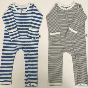 Sapphire and Grey Striped Baby Grows