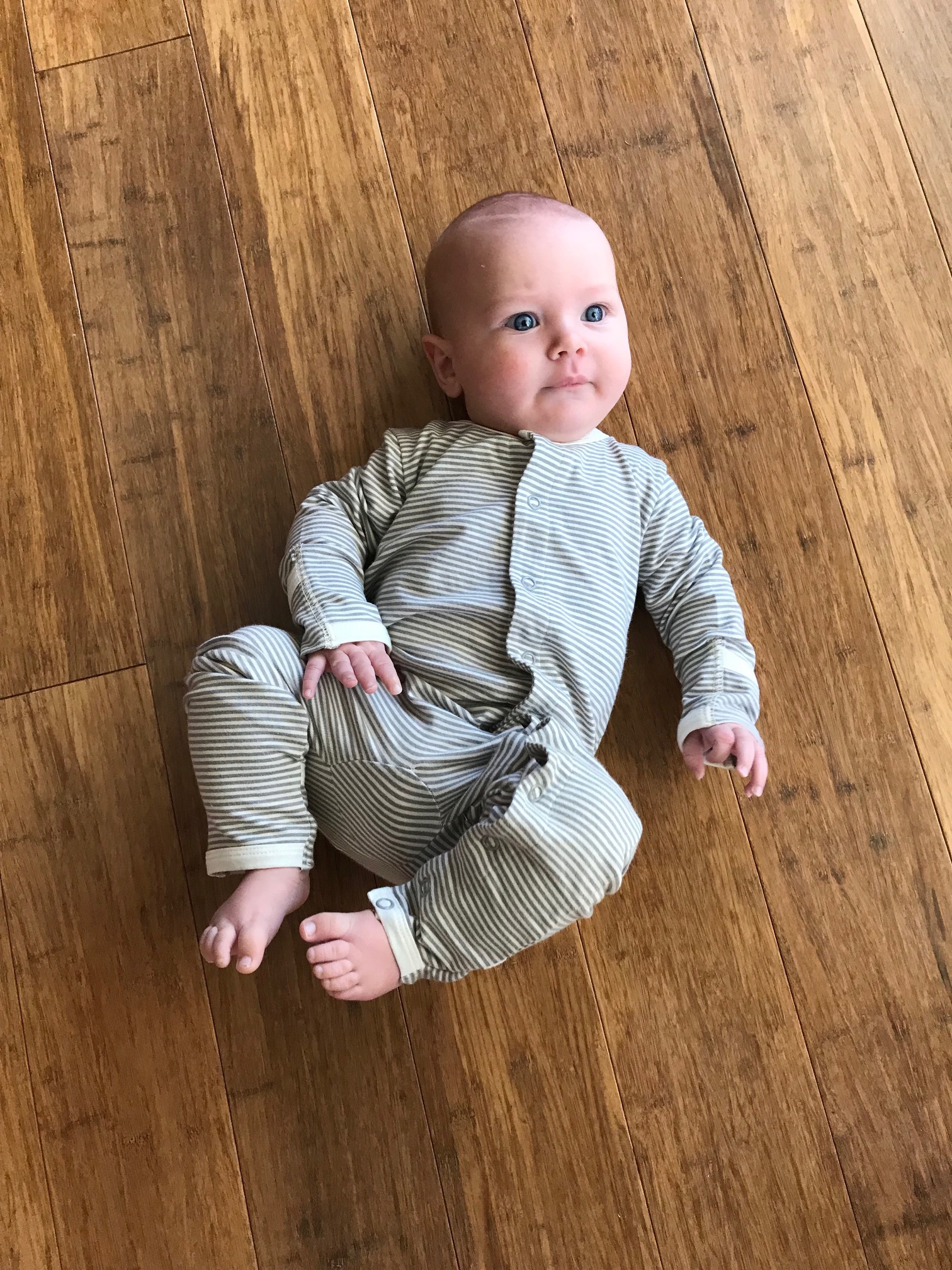 Fine Grey and Natural Striped Bamboo Baby Grow